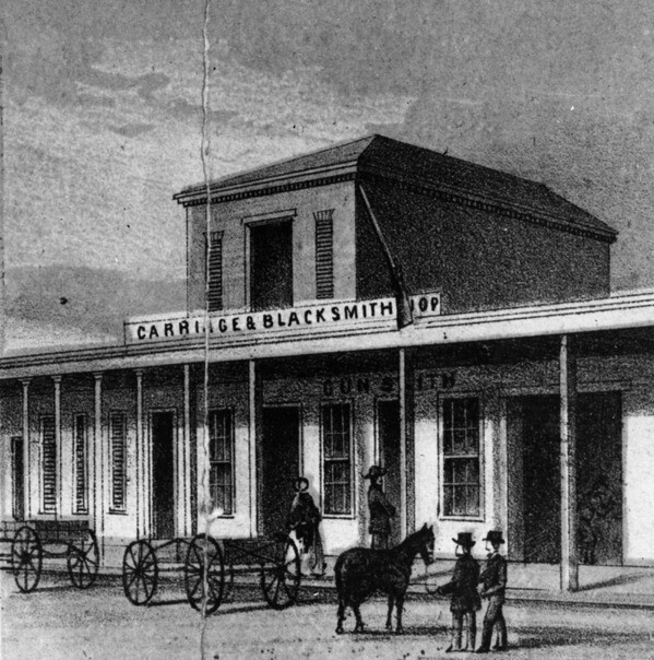 1857 lithographic drawing of John Goller's blacksmith shop, one of Los Angeles' first. Courtesy of the Photo Collection - Los Angeles Public Library.