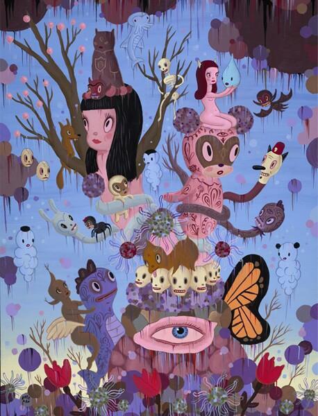"Gary Baseman, ""The Explosion of Dream Reality,"" 2009, Acrylic on canvas, 4 x 3 ft."