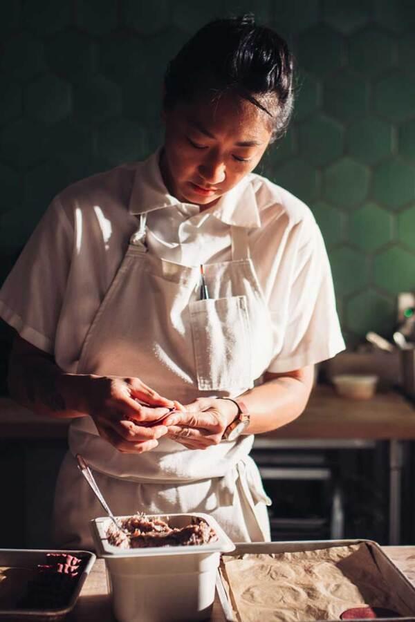 Melissa Chou preparing dessert. | The Migrant Kitchen