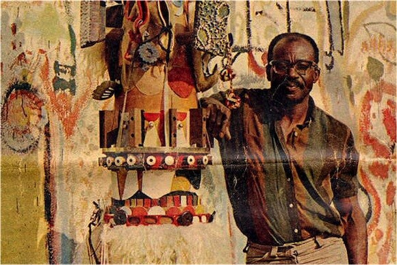Noah Purifoy on the cover of The Tuesday Magazine, August 1968.