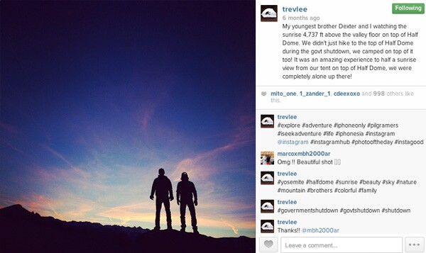 Trev Lee and his brother, Dexter, post for a photo atop Yosemite's Half Dome during the government shutdown.