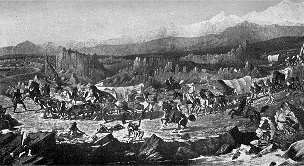 Indian attack on the Baldwin Party nearl Salt Lake City in 1853, as pictured by the artist Cross, from Lucky Baldwin's description. Image taken from C.B. Glasscock's 1933 biography ''Lucky Baldwin: The Story of an Unconventional Success''