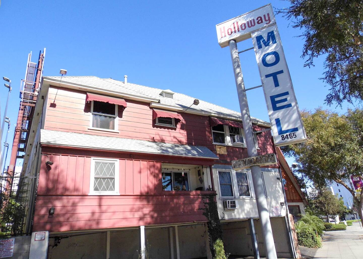 Exterior of The Holloway Motel in West Hollywood.