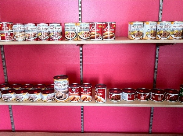 Shelves of canned mock meats at Veg-It-Up