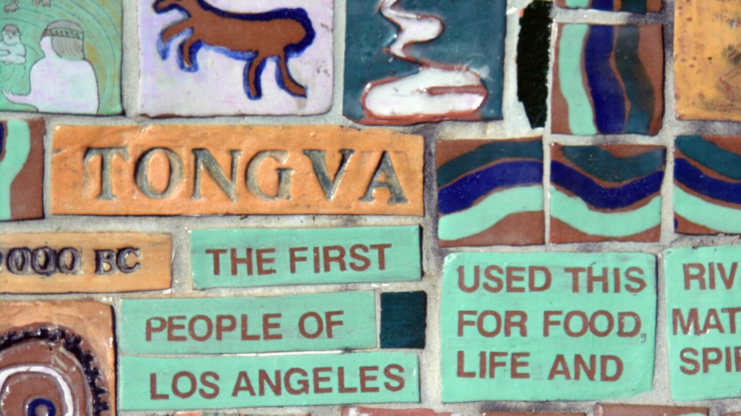 The story of the Tongva is told on the community-created bench at Rio de Los Angeles State Park. | Sandi Hemmerlein
