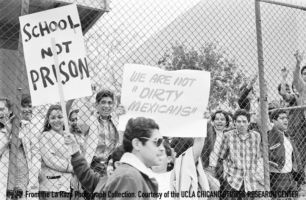 CSRC_LaRaza_B1F3C4_DW_007 Students at Roosevelt High School walkout | La Raza photograph collection. Courtesy of UCLA Chicano Studies Research Center