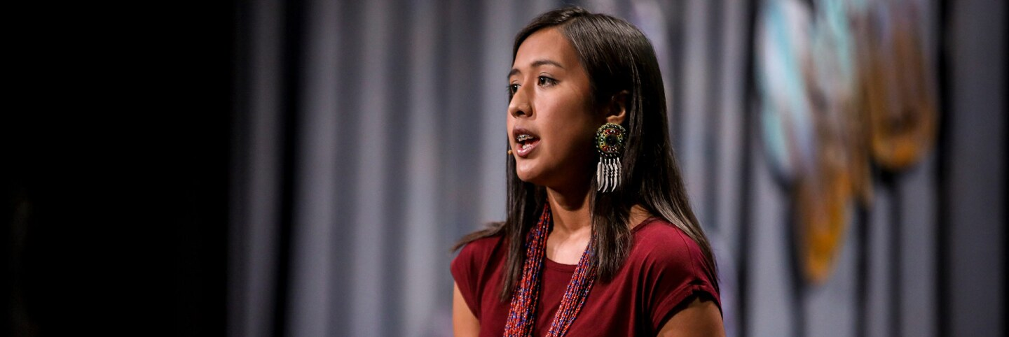 Naelyn Pike speaks at the 2016 Bioneers Conference. | Hardy Wilson, Courtesy of Bioneers