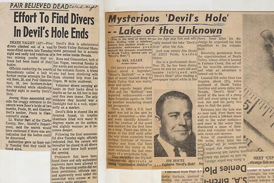 Early 1960s articles describing Jim Houtz's adventures from his personal scrapbook. | Photo: Kim Stringfellow.