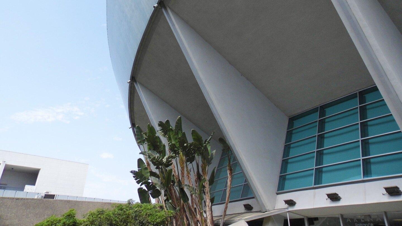 Close shot of a portion of the Anaheim Arena.