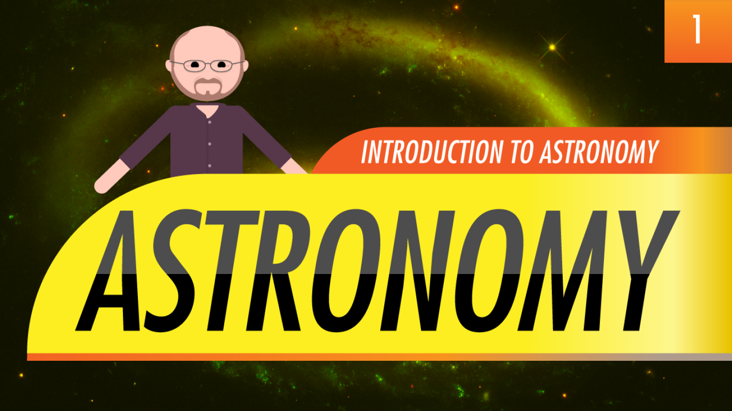 """Thumbnail image for """"Introduction to Astronomy"""" featuring an illustrated Phil Plait."""