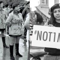 "[Left] ""Santa Barbara Brown Berets aka Moratorium in Maravilla"" 1970.   Photo: Oscar Castillo    [Right] ""Not One More (Girl with Beret)"" 2016.   Photo: Rafael Cardenas"