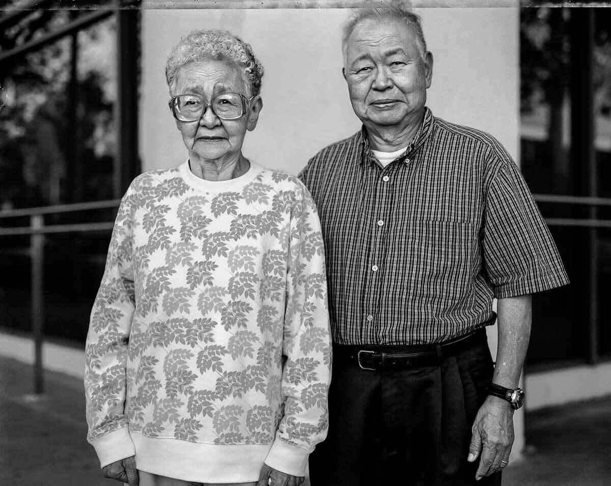 Kimiko Kitagaki Wong and Paul Kiyoshi Kitagaki return in 2005 to the Oakland building where the East Bay evacuees were sent to camps.   Paul Kitakagi, Jr.