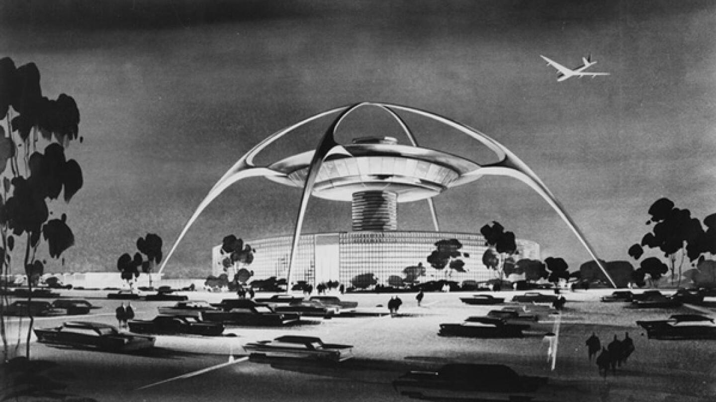1961 artist's rendering of LAX's Theme Building, designed by architect William Pereira. Courtesy of the California Historical Society Collection, USC Libraries.