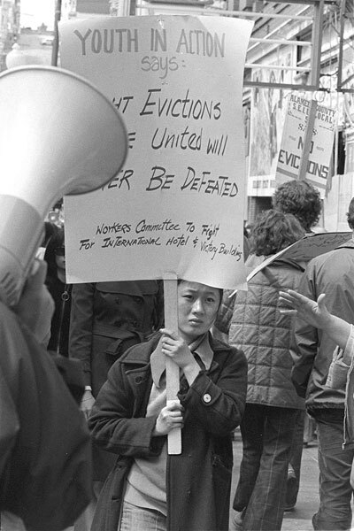 A demonstrator at the January 1977 protest at the International Hotel in San Francisco. | Nancy Wong/Wikimedia Commons