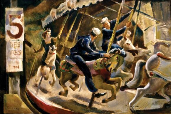 """Brandt, Rex, """"Horsemen at Mission Beach,"""" 1942, 21x30"""