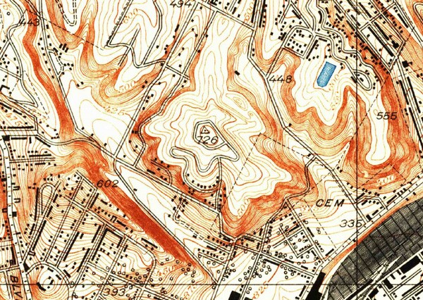 Mount Lookout rose between Chavez and Cemetery ravines. 1928 topographic map courtesy of the USGS.