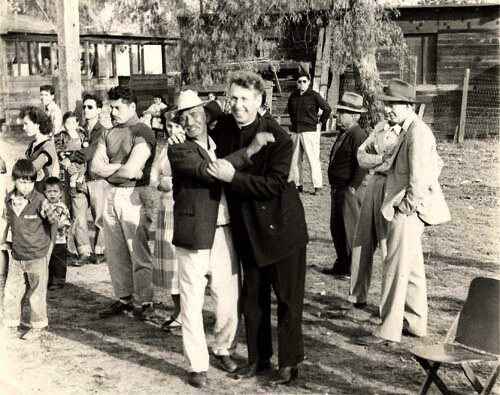 Father Coffield and Hicks Camp residents, date unknown. | Courtesy of La Historia Society of El Monte