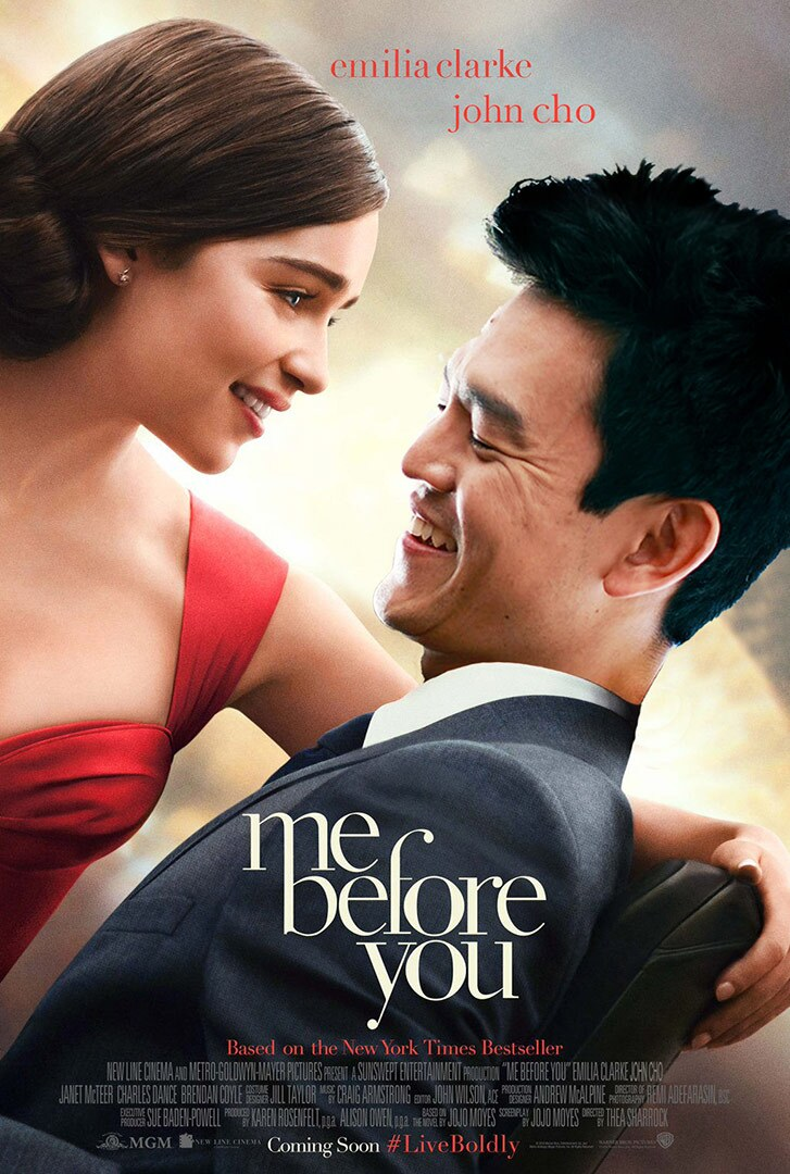 Movie poster featuring a White woman in a red dress holding an Asian American man as he looks at her.
