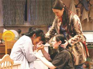 Left to right: Jane Lind as Jessie, Tiffany Meiwald as Lily, and Lily Gladstone as Carlisle in Carolyn Dun's 'The Frybread Queen.'