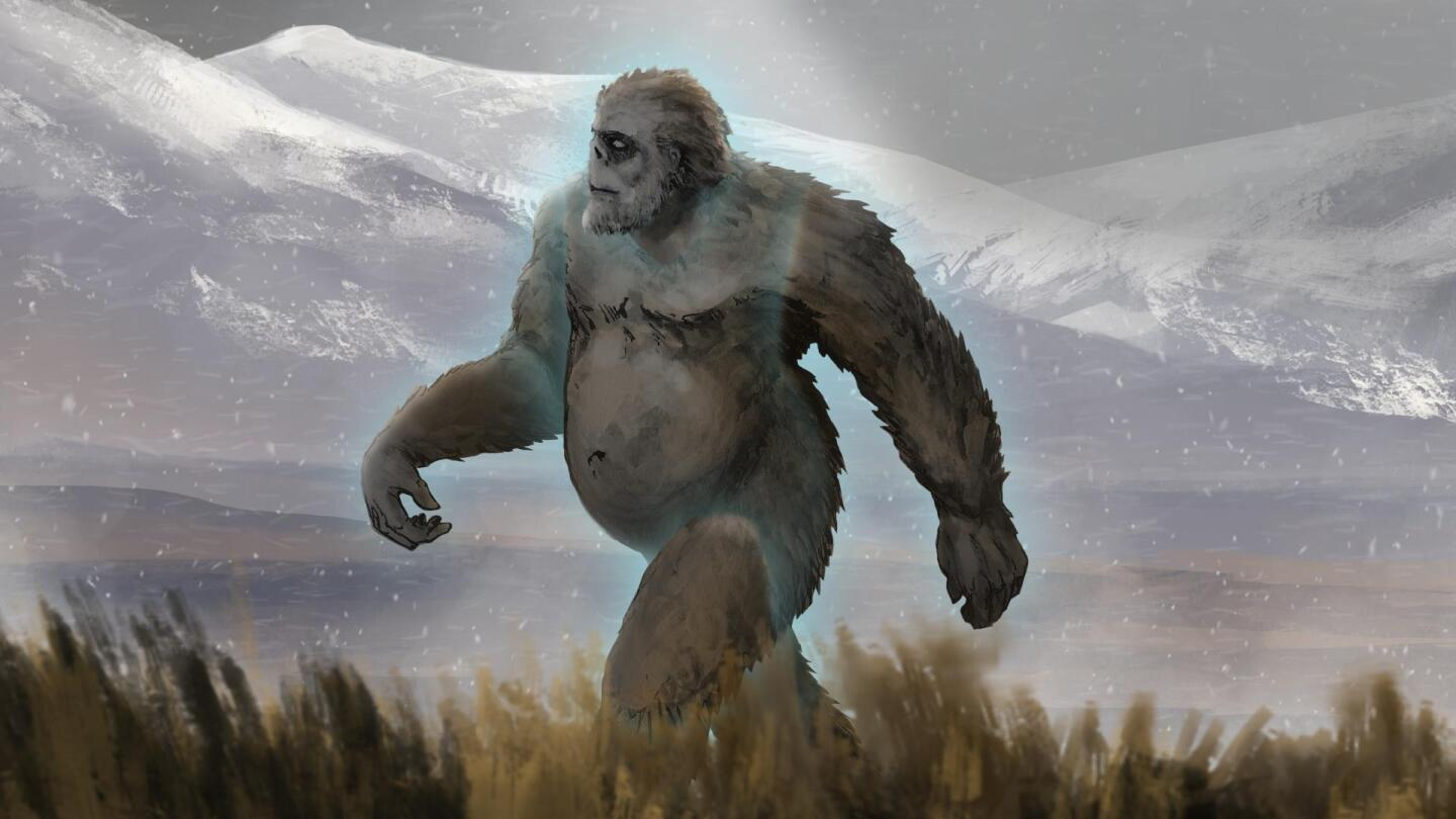 An illustration of the Yeti walking through a forest.