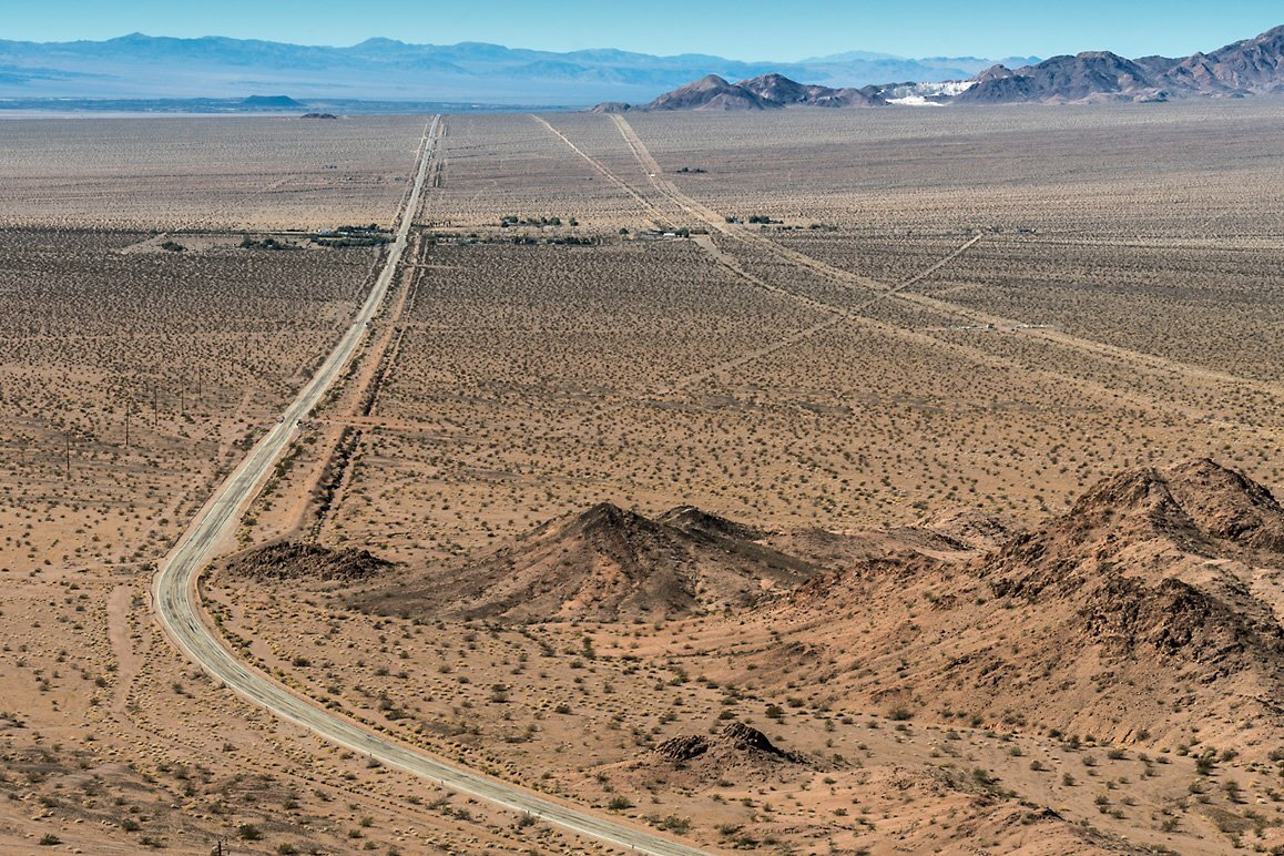 View of Chambless, CA along the National Trails Highway (Route 66) from the Cadiz Summit. | Kim Stringfellow