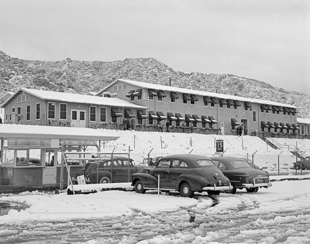 A wintry Jet Propulsion Laboratory in Pasadena/La Cañada Flintridge, 1949