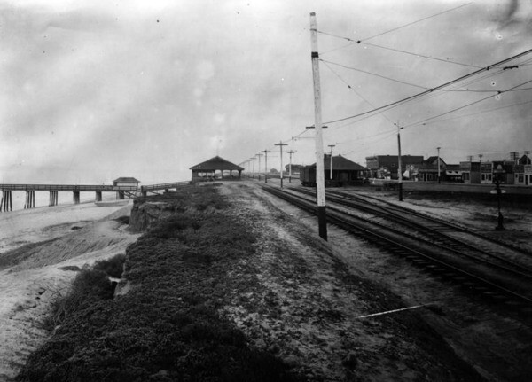 Tracks along Huntington Beach's Ocean Avenue, circa 1915. Courtesy of the Security Pacific National Bank Collection - Los Angeles Public Library.
