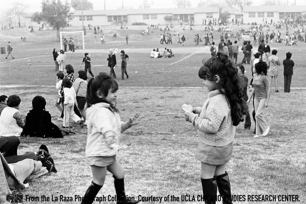 CSRC_LaRaza_B6F2aC2_OC_011 Children at Marcha Por La Justicia Rally at Belvedere Park | Oscar Castillo, La Raza photograph collection. Courtesy of UCLA Chicano Studies Research Center