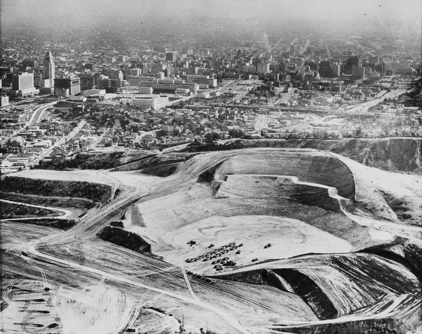 Dodger Stadium under construction on May 25, 1960. Courtesy of the USC Libraries - Los Angeles Examiner Collection.