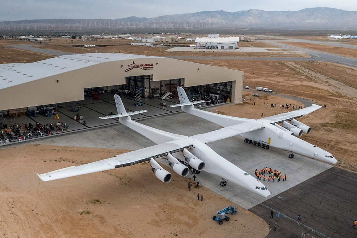 Paul Allen's Stratolaunch, the world's largest plane to date. | Courtesy of Stratolaunch Systems
