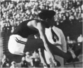 Oshima Kenkichi in the Hop, Step, and Jump | From the Official Olympic Report, 1932