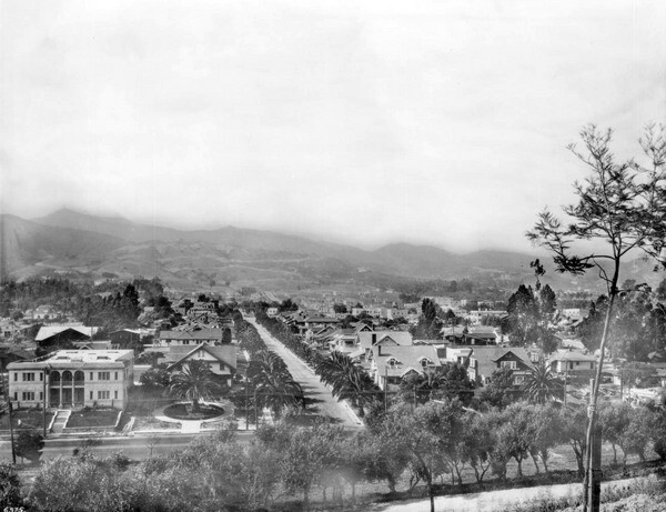 The view from Olive Hill looking circa 1921, looking north toward Los Feliz and Griffith Park. Courtesy of the USC Libraries - California Historical Society Collection.