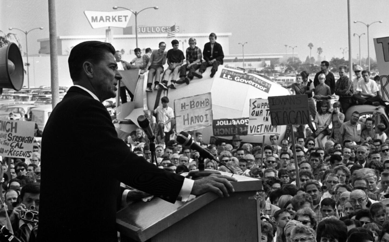 Ronald Reagan speaking to crowd during gubernatorial campaign stop in Lakewood, Calif., 1966