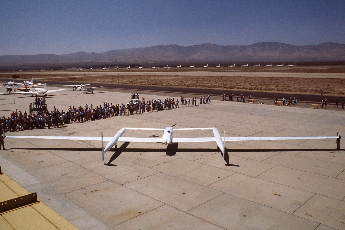The Rutan Voyager on the MASP's runway. | Courtesy of the Smithsonian