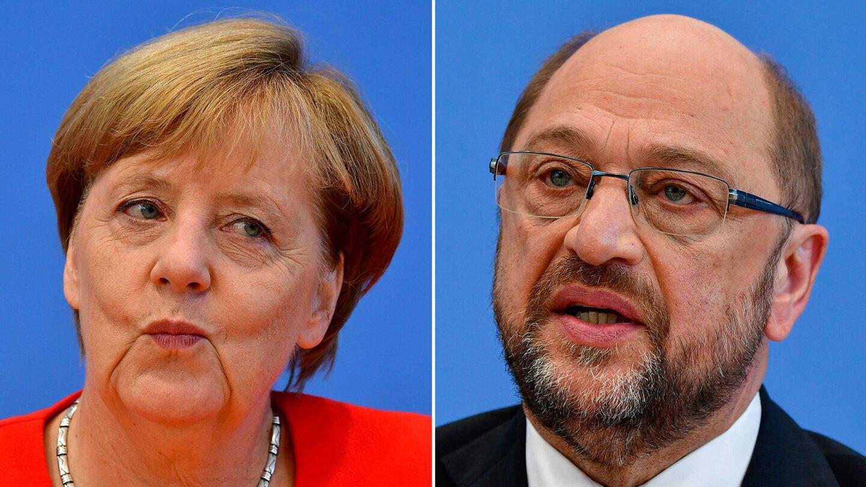 German Chancellor Angela Merkel and opponent Martin Schulz