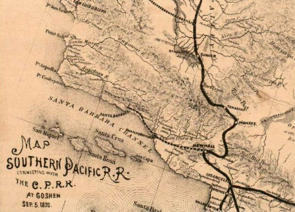 Detail of an 1876 Southern Pacific map, showing the railroad's lines through Southern California. Courtesy of the Robert B. Honeyman, Jr. Collection of Early Californian and Western American Pictorial Material, Bancroft Library, UC Berkeley.