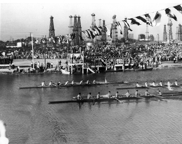 Olympic rowing competition in Long Beach's Marine Stadium. Courtesy of the LA84 Foundation.