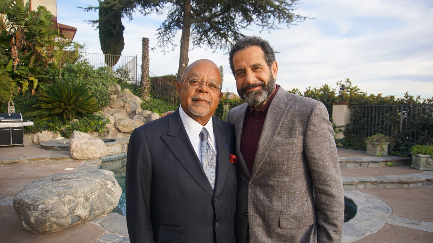 "Actor Tony Shalhoub and host Henry Louis Gates, Jr. while taping ""Finding Your Roots."""