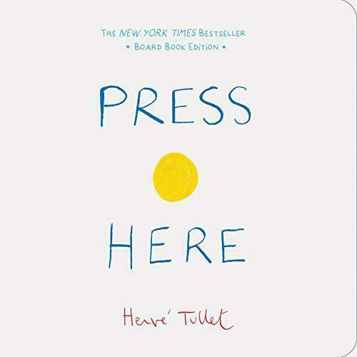 """Book cover of """"Press Here"""" by Hervé Tullet featuring the title in blue and a yellow dot over a white background."""