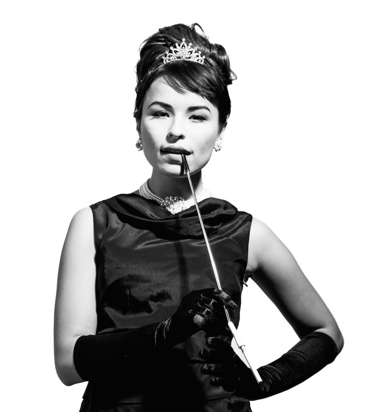 "Shayna Jackson, a Dakota and Cree tribal member, channels Audrey Hepburn in ""Breakfast at Tiffany's"" in Pamela J. Peters' series ""Real NDNZ Re-take Hollywood."""