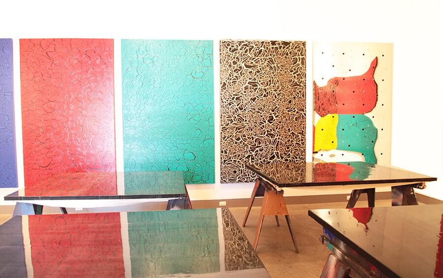 Drying paintings at Ed Moses' Venice home. | Photo: Drew Tewksbury.