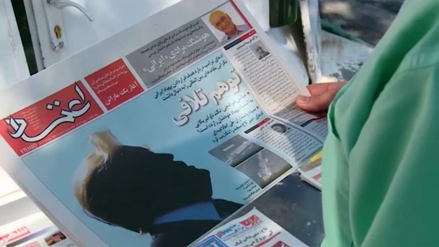 Iranian newspaper shows Trump silhouette on front page | Still from Democracy Now