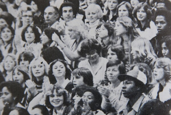 My mother clapping, lower right, in 1978   Photo via John W. North High School yearbook