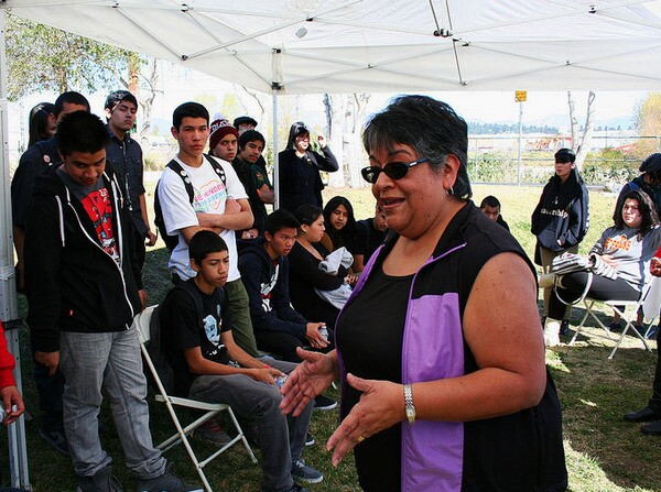 Ceci speaks with Youth Voice students from the L.A. River School and L.A. Leadership Academy