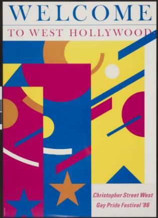 Welcome to West Hollywood: Christopher Street West gay pride festival '86, poster. | Marion Sampler, Christopher Street West/Los Angeles, ONE National Gay and Lesbian Archives, USC Libraries