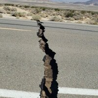 Crack in the road in Trona, CA after the earthquake on July 4th, 2019