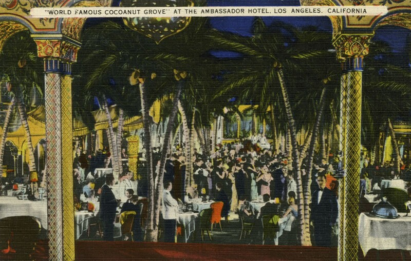 """Undated postcard of the """"World Famous Cocoanut Grove"""""""