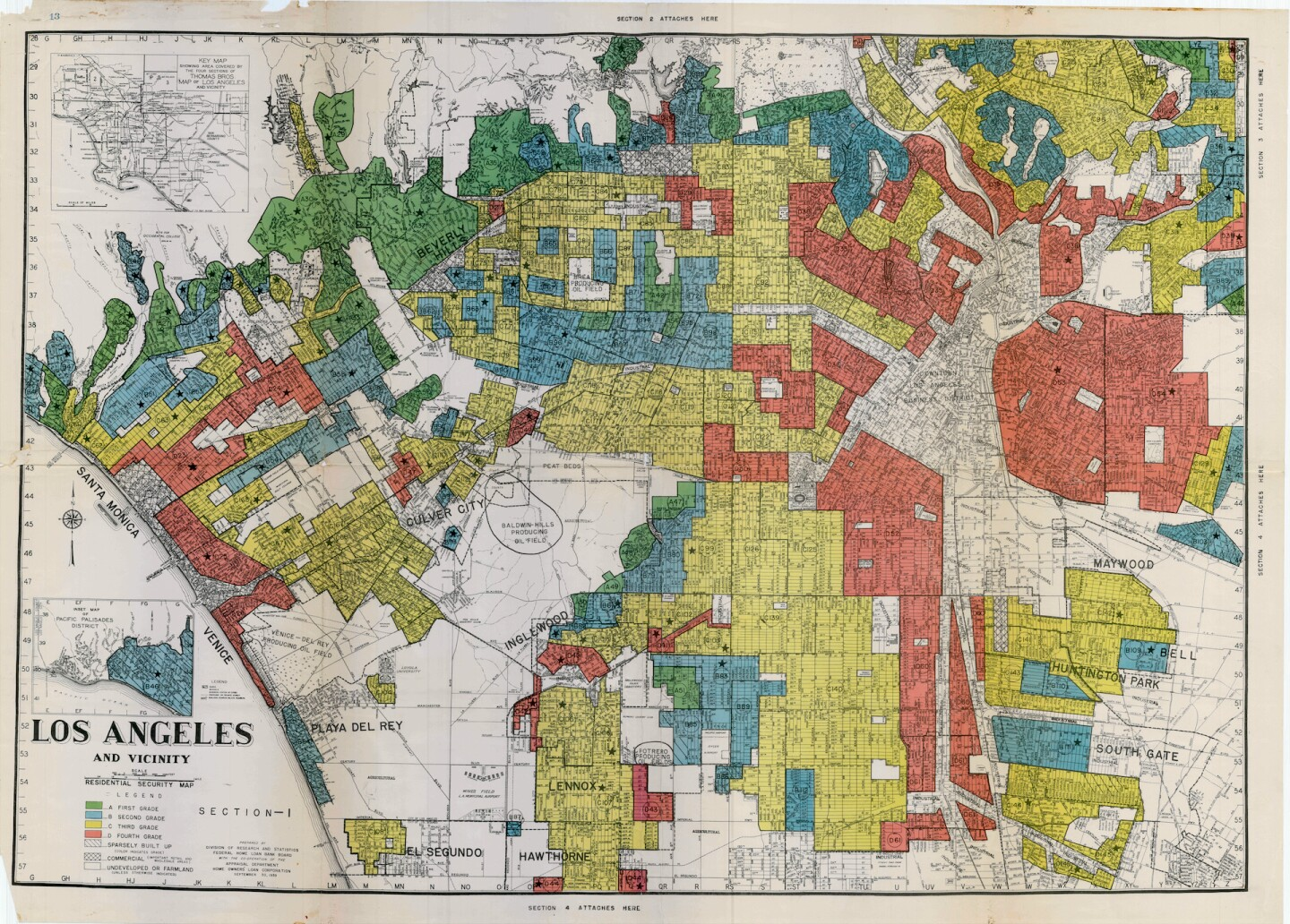 The map aboveshows the Home Owners Loan Corporation (HOLC) redlining of Los Angeles in 1939 with Westlake primarily coded red and Silver Lake blue. | University of Richmond
