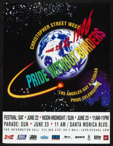 Pride without borders poster from the Los Angeles gay & lesbian pride celebration, 1996. | Christopher Street West/Los Angeles, ONE National Gay and Lesbian Archives, USC Libraries