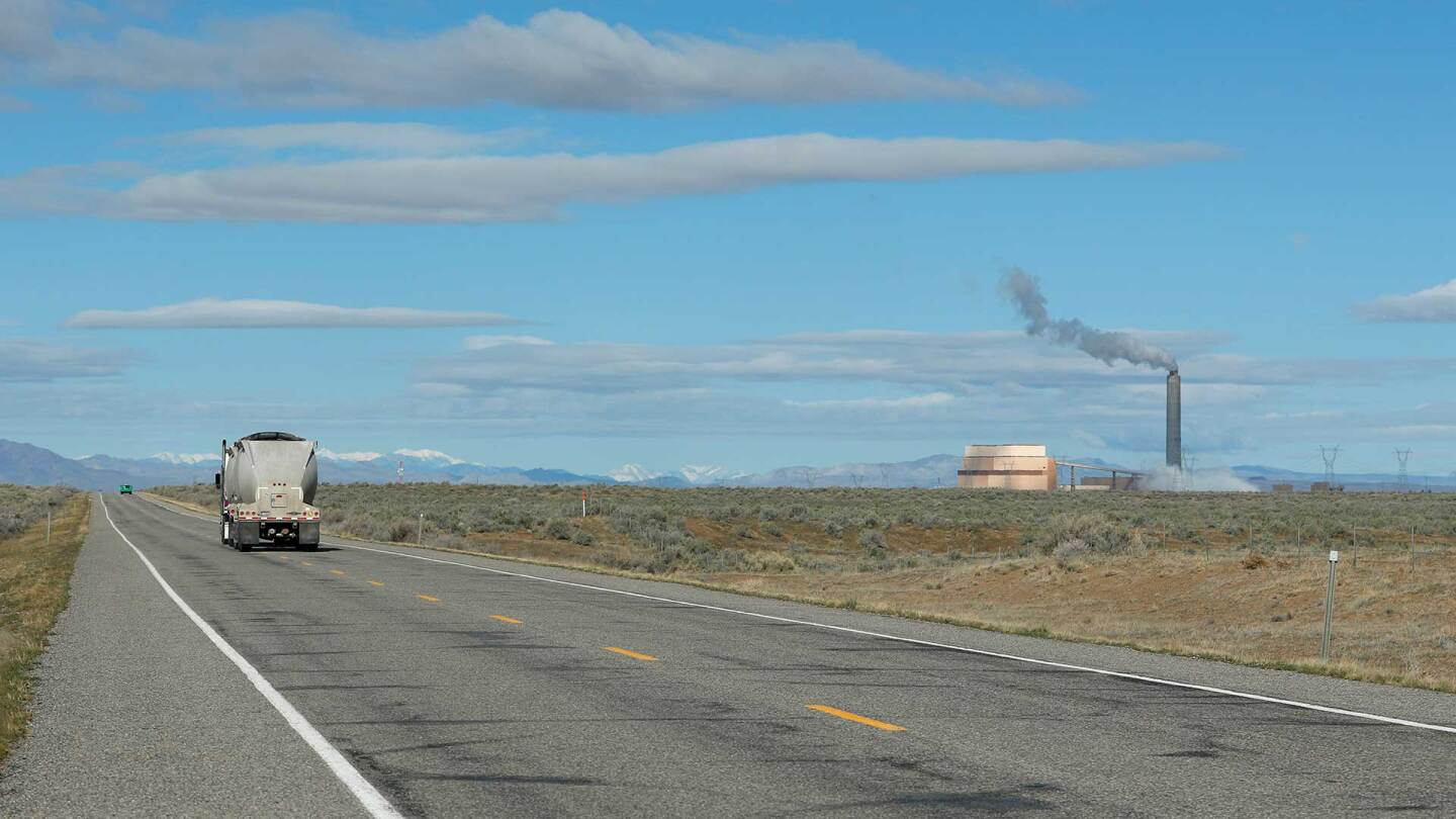 A coal truck drives to the coal-fired Intermountain Power Plant on March 28, 2016 outside Delta, Utah. | George Frey/Getty Images